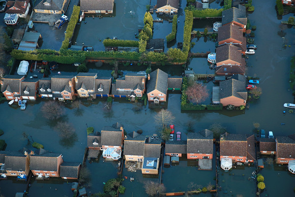 Aerial view of houses affected by flooding
